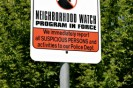 Neighborhood crime watch program sign