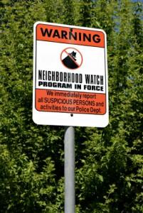 Neighborhood crime watch program sign